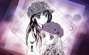 Picture circles, squares, cap, camouflage, Girls, two, friend, big eyes