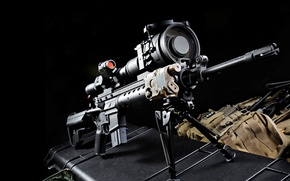 Picture sight, rifle, black background, sniper, Mk 12, Special Purpose Rifle