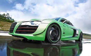 Picture the sky, clouds, reflection, Audi, Audi, green, supercar, tuning, V10, the front.tuning, B10, Racing One