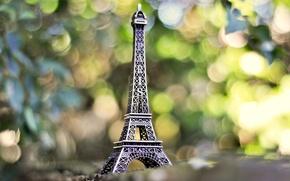 Wallpaper France, France, Paris, Eiffel tower, stand, La tour Eiffel, blur, Paris, bokeh, greens, figurine