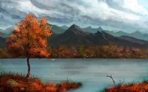 Wallpaper autumn, mountains, birds, clouds, river, tree, art