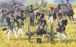 Picture art, Russian, armed with 6 - pounder cannon, artillery team, acted in the war with …
