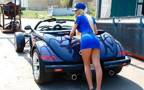 Picture BLONDE, ASS, FORM, LEGS, BLUE, SUPERCAR