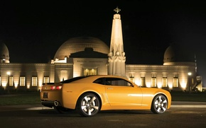 Picture car, night, yellow, the building, Chevrolet, Camaro