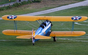Picture Boeing, American, double, Stearman, PT-17, training aircraft biplane
