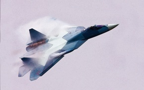 Picture Dry, Figure, Aviation, Flies, fighter, BBC, Russia, PAK FA, T-50, multipurpose, The plane