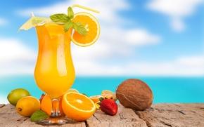Picture lemon, umbrella, glass, juice, drink, orange, coconut, strawberry, oranges, summer, lime, tube