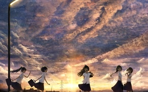 Picture the sky, the sun, clouds, sunset, girls, home, anime, art, lantern, bounin