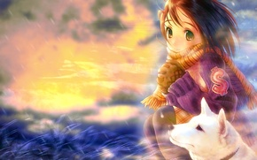 Wallpaper girl, mood, dog