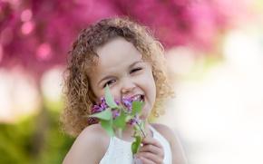 Picture portrait, girl, lilac