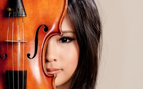 Picture look, girl, music, violin, Asian
