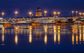 Picture night, bridge, lights, river, lights, Russia, Peter, Saint Petersburg, Neva, St. Petersburg