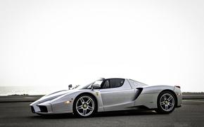Picture sea, the sky, silver, ferrari, Ferrari, side view, enzo, silvery, Enzo