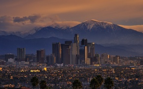 Picture mountains, the city, sunrise, morning, CA, Los Angeles