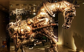 Picture horse, steampunk sculpture, work of art