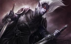Wallpaper chain, Art, armor, dark elf, Drizzt Do'urden, swords, burning eyes, drow