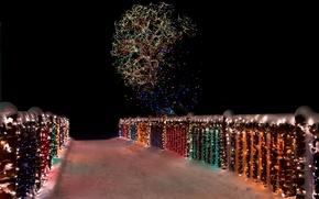 Picture winter, snow, night, bridge, lights, tree, bridge, wood, night, snow