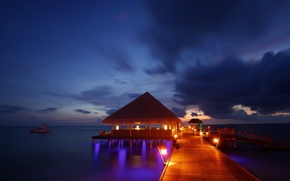 Picture the ocean, pierce, The Maldives, beach, Bungalow, sea, ocean, sunset, Maldives, tropical, night lights, bungalow