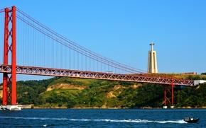 Picture bridge, statue, Portugal, Lisbon