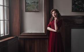 Picture girl, sweetheart, model, portrait, interior, dress, pictures, light, red, brown hair, the beauty, beautiful, beauty, …