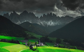 Picture Alps, clouds, light, Italy, mountains, Church, home, Funes, Santa Magdalena, chapel, the sky, valley, clouds