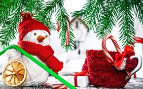 Wallpaper holiday, New Year, mug, snowman, twigs of spruce