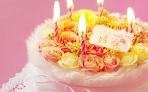 Wallpaper cake, birthday, holiday, Romantic, candles, romance