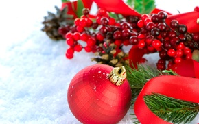 Wallpaper red, holiday, tree, ball, branch, Snow, berry, tape