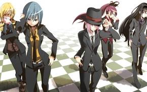 Picture girls, hat, anime, art, costume, tie, mahou shoujo madoka magica, homura akemi, madoka kaname, sayaka …