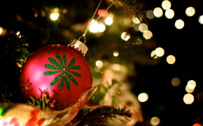 Picture red, pattern, toys, tree, ball, ball, New Year, Christmas, Christmas, holidays, New Year, Christmas