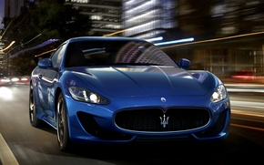 Picture Maserati, Lights, Night, The city, Sport, Machine, Speed, Maserati, Car, Car, Beautiful, Speed, GranTurismo, Night, …