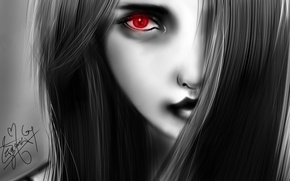 Picture girl, red, face, eyes, hair, figure, black and white, monochrome