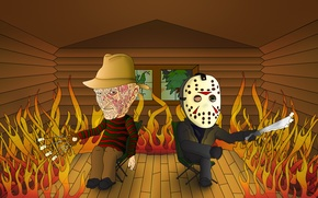 Wallpaper house, fire, Friday the 13th, the trick, A nightmare on elm street, A Nightmare on ...