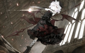 Picture girl, wings, dress, vampire, spear, red eyes, remilia scarlet, Touhou, Touhou