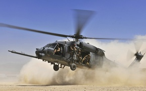 Wallpaper the sky, soldiers, dust, desert, landing, landing, Helicopter, HH 60G Pave Hawk, blades
