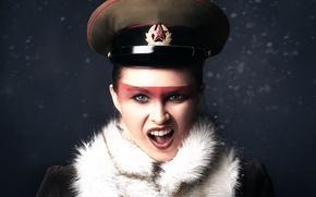 Picture girl, cap, Creek, makeup, Russian girl