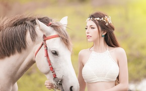 Picture face, girl, mood, horse, horse, wreath