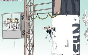 Wallpaper astronauts, caricature, Wulffmorgenthaler, rocket, humor