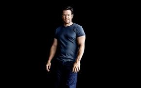 Picture jeans, t-shirt, photographer, actor, black background, journal, Mark Wahlberg, Mark Wahlberg, Patrik Giardino, Mens Health