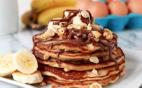 Picture photo, Chocolate, Bananas, Food, Pancakes, Cakes