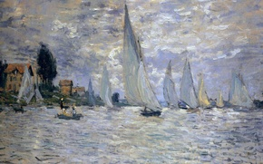 Picture boat, picture, yacht, seascape, Claude Monet, Regatta at Argenteuil
