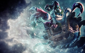 Wallpaper sleigh, weapons, snow, art, bell, cold, Blizzard, hat, new year, League Of Legends, Veigar