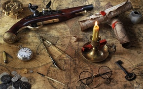 Wallpaper key, watch, the compass, pistol, coins, card, compass, candle, glasses