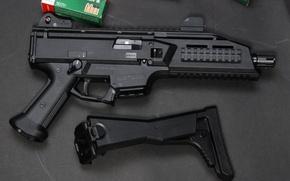 Picture gun, weapon, Skorpion, Skorpion EVO III A1-00, outstanding stock, 9x21, materia war, ammo box, military …
