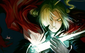 Wallpaper look, magic, anger, guy, fullmetal alchemist, edward elric, art, Fullmetal alchemist, jas-tham, iron hand