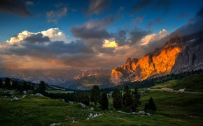 Picture forest, sunset, mountains, nature, valley