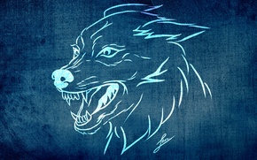 Picture background, animal, Wallpaper, figure, wolf, texture, styling, fangs, grin, evil, collection, LBes, Lbes, sobaka