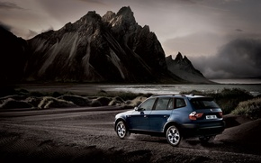 Wallpaper water, mountains, gravel, bmw x3