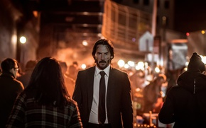 Wallpaper city, cinema, night, man, movie, assassin, film, Keanu Reeves, suit, tie, scar, John Wick, John ...