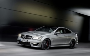 Picture Mercedes-Benz, Auto, Mercedes, Grey, Driver, AMG, C63, Coupe, In Motion